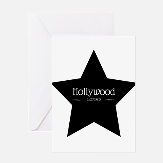 Hollywood California Black Star Greeting Cards