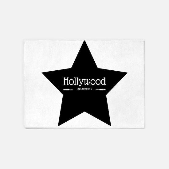 Hollywood California Black Star 5'x7'Area Rug