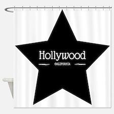 Hollywood California Black Star Shower Curtain