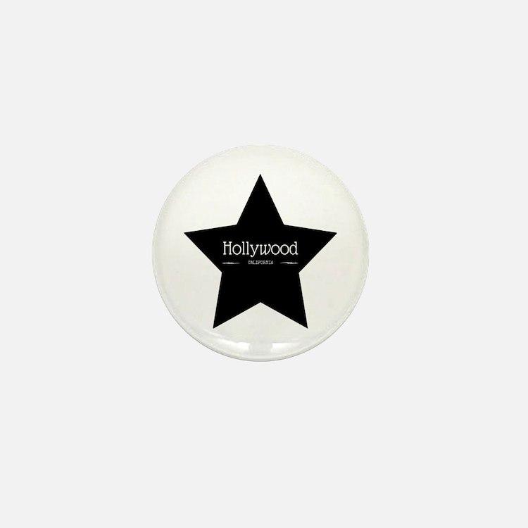 Hollywood California Black Star Mini Button
