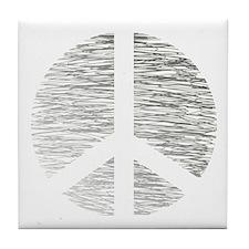 Peace Sign Pencil Scribbles Tile Coaster