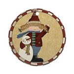 Girl with Snowman Ornament (Round)