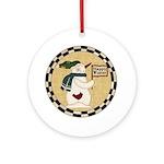 Happy Winter Snowman Ornament (Round)