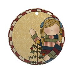 Girl and Christmas Tree Ornament (Round)