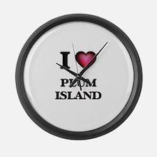 I love Plum Island Massachusetts Large Wall Clock