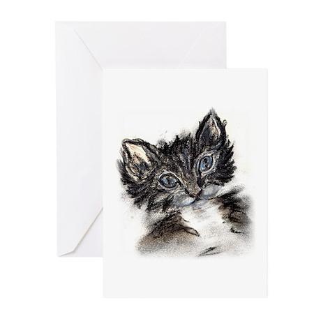 Cute Black Kitten Greeting Cards (Pk of 10)