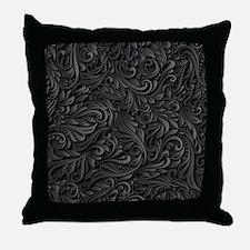 Black Flourish Throw Pillow