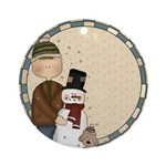 Boy and Snowman Ornament (Round)