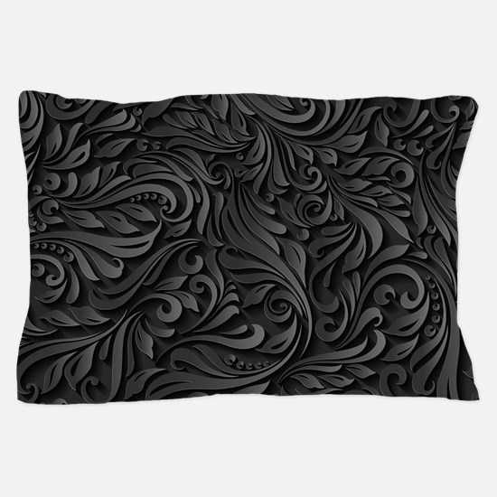 Black Flourish Pillow Case