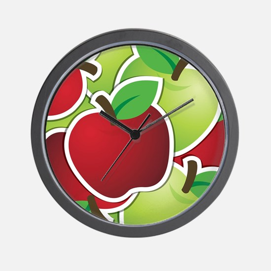 Funky mixed apples Wall Clock