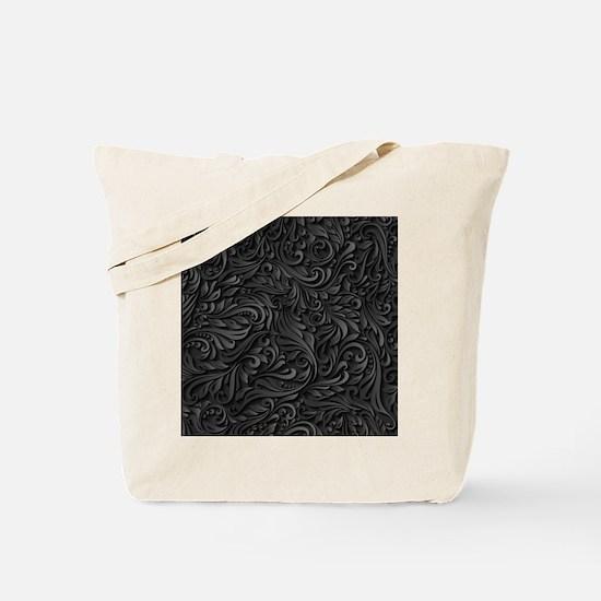 Black Flourish Tote Bag