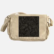 Black Flourish Messenger Bag