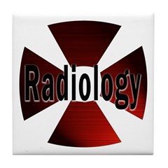 Radiology in Red Tile Coaster