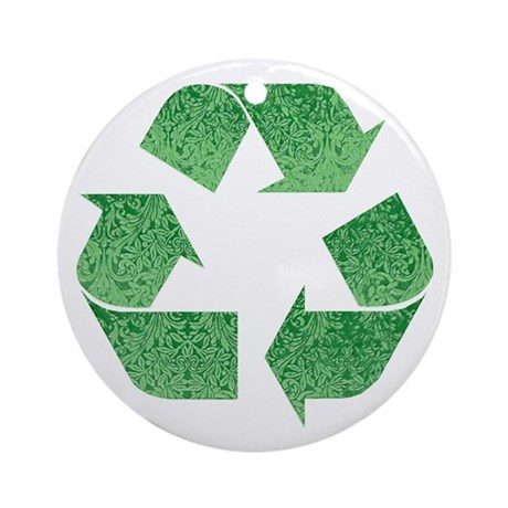 Leafy Green Recycle Symbol Ornament (Round)
