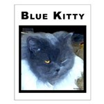 Blue Kitty Cat Small Poster