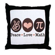 Peace Love Math Pi Throw Pillow