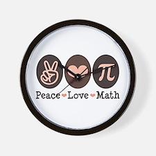 Peace Love Math Pi Wall Clock
