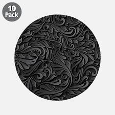 "Black Flourish 3.5"" Button (10 pack)"