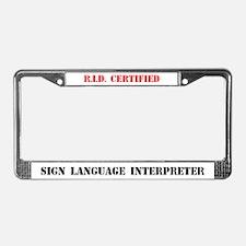 RID Certified Interpreter License Plate Frame