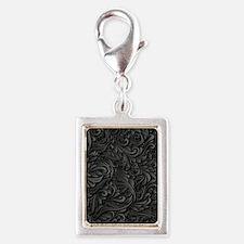 Black Flourish Silver Portrait Charm
