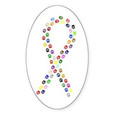 Multicolor Paws Ribbon Oval Decal