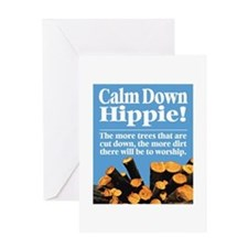 Calm Down Hippie! Greeting Card