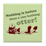 Sun Bathing Otter Tile Coaster