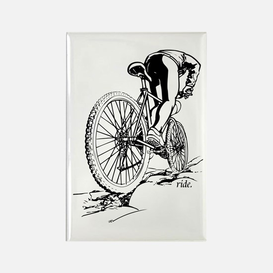 Ride. Mountain Biker Rectangle Magnet (10 pack)