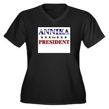 ANNIKA for president Women's Plus Size V-Neck Dark