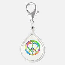 Peace Love Music Silver Teardrop Charm