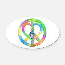 Peace Love Music Oval Car Magnet