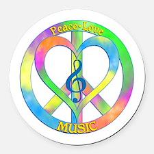 Peace Love Music Round Car Magnet