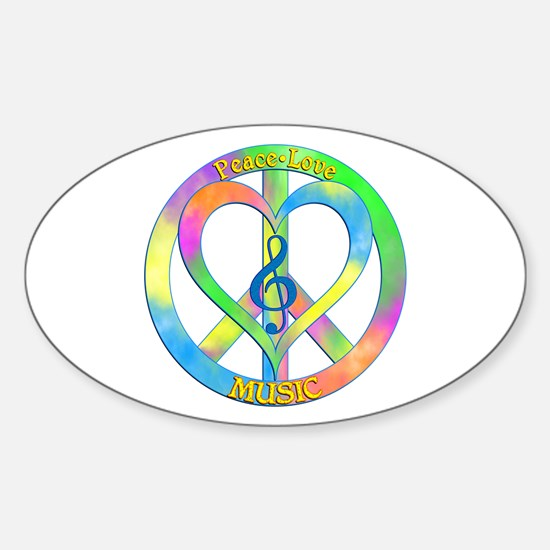 Peace Love Music Sticker (Oval)