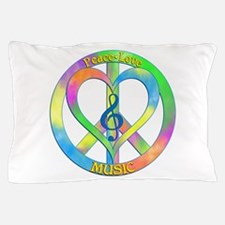 Peace Love Music Pillow Case