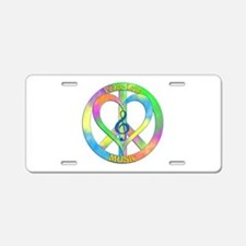 Peace Love Music Aluminum License Plate