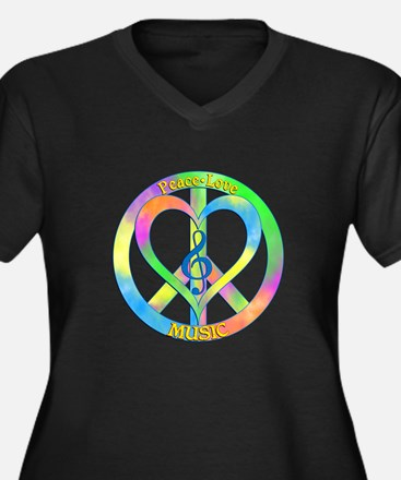 Peace Love M Women's Plus Size V-Neck Dark T-Shirt