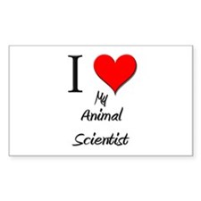 I Love My Animal Scientist Rectangle Decal