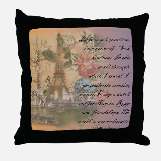 ParisABCDE12.jpg Throw Pillow