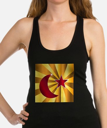 Muslim Crescent Moon With Star Racerback Tank Top