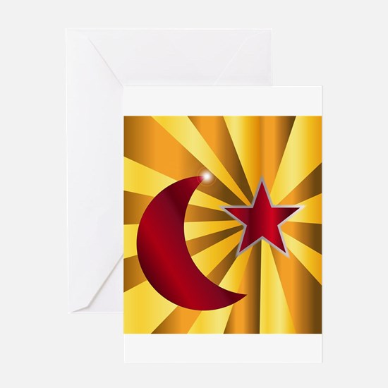 Muslim Crescent Moon With Star Greeting Cards