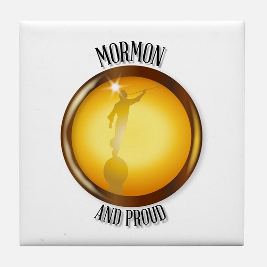 Mormon And Proud Button Tile Coaster
