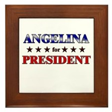 ANGELINA for president Framed Tile
