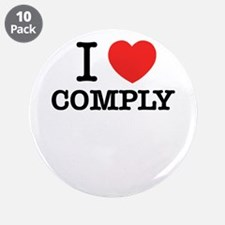 """I Love COMPLY 3.5"""" Button (10 pack)"""