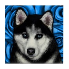 SIBERIAN HUSKY DOG BLUE ROSES Tile Coaster