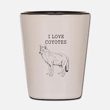 I Love Coyotes Shot Glass