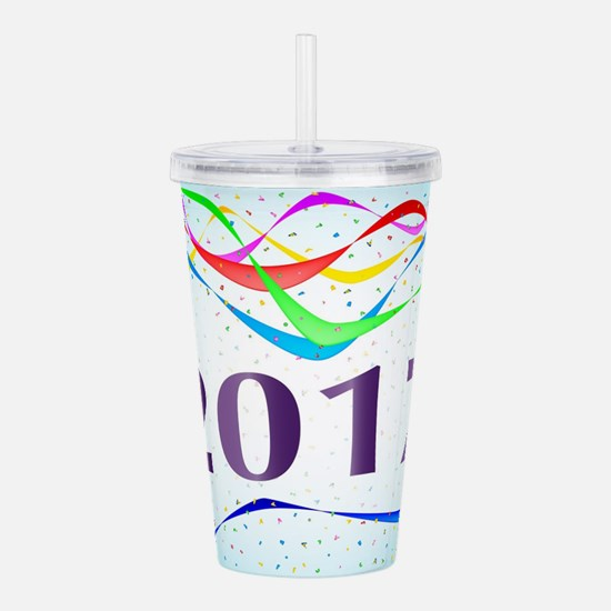 2017 Ribbon and Confet Acrylic Double-wall Tumbler