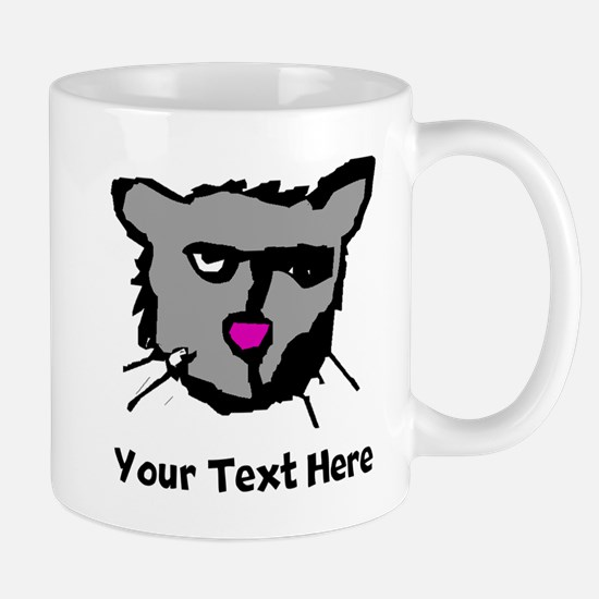 Grey Cat Face (Custom) Mugs