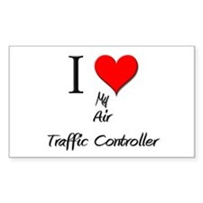 I Love My Air Traffic Controller Sticker (Rectangu