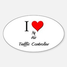 I Love My Air Traffic Controller Oval Decal