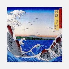 Hiroshige Wild sea breaking on the roc Queen Duvet